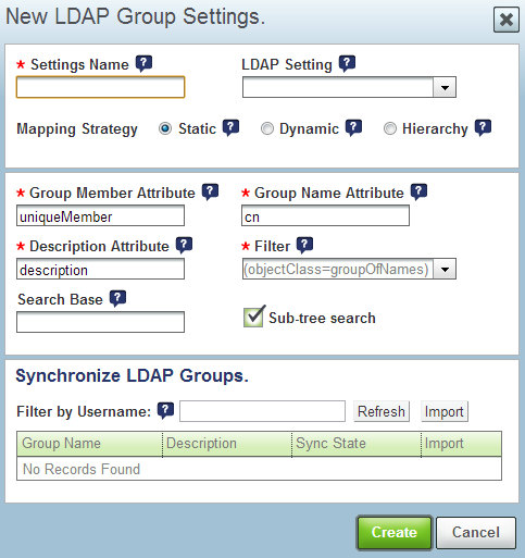 LDAP Group Settings