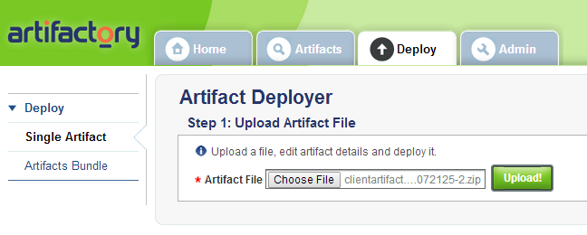 Uploading a single artifact to deploy