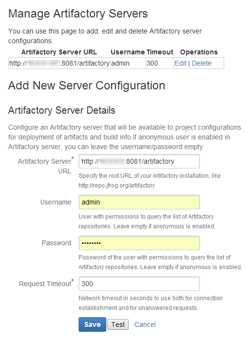 Bamboo Artifactory Server Configuration