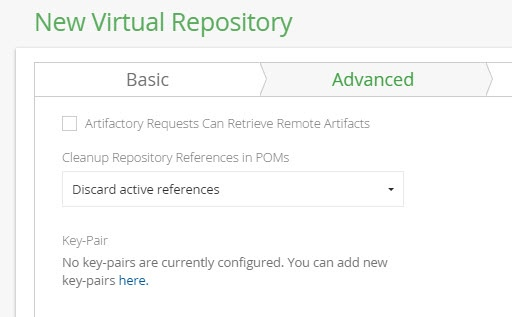 Virtual Repository Advanced Settings