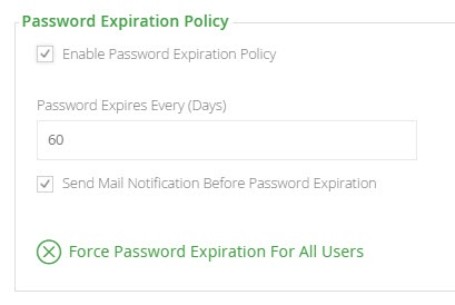 Password expiration policy