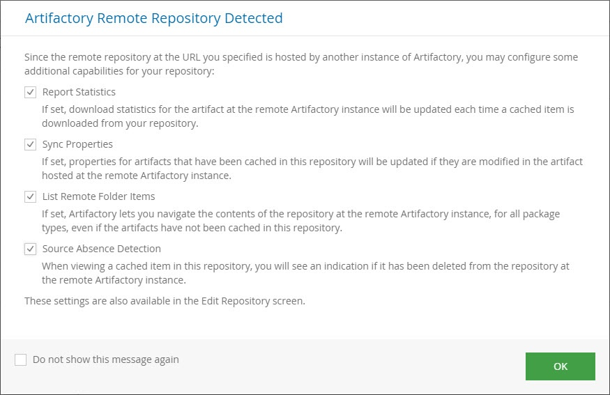 Smart remote repository popup