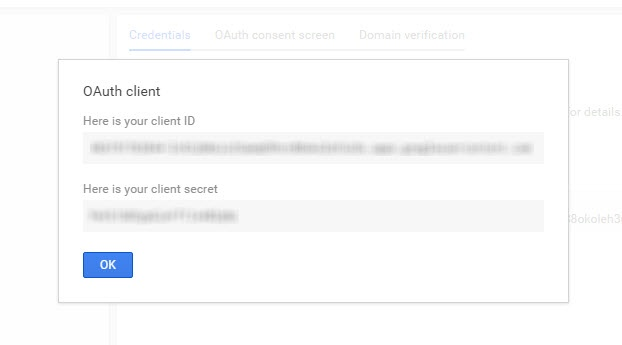 Client credentials on Google