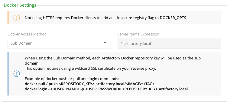 Docker Settings in Reverse Proxy Configuration Sub domain Method