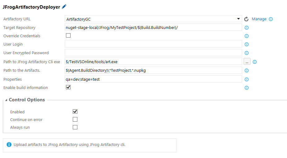 VS Team Services Artifactory Plugin - JFrog Artifactory