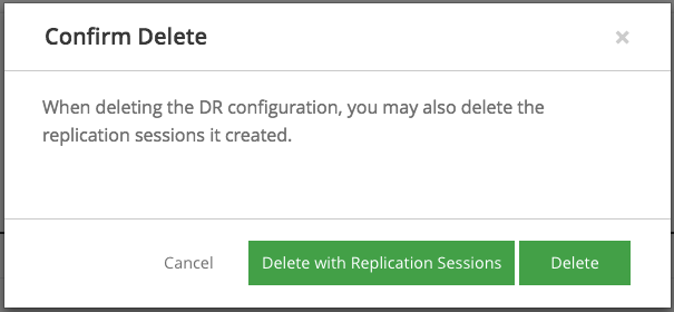 Confirm deletion of DR configuration and replication sessions