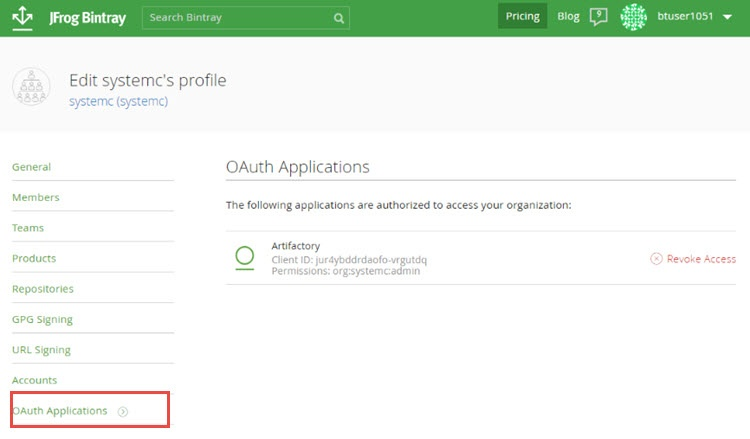 Bintray OAuth Applications
