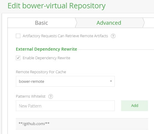 Bower virtual repository advanced configuration