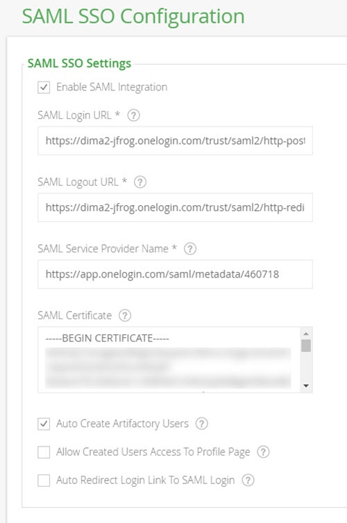 SAML SSO Integration - Artifactory 4 x - JFrog Wiki