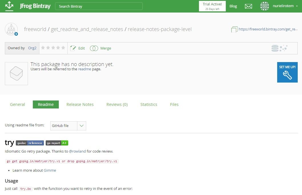 Importing Readmes and Release Notes from GitHub - Bintray - JFrog Wiki