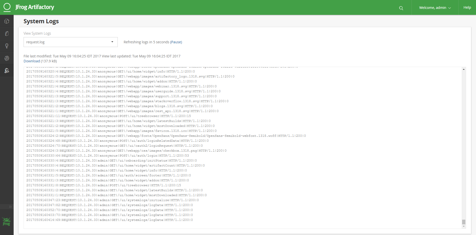 Artifactory Request Log